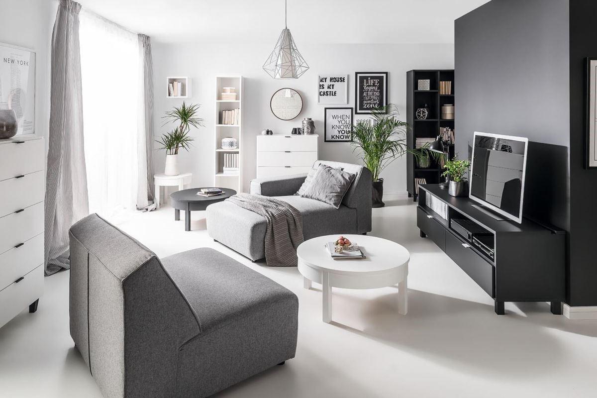 Modus系列可作為大套組合長沙發或單獨坐、躺椅使用,針對空間大小和使用性質靈活變化。(尺寸:依空間不同組合有所不同)