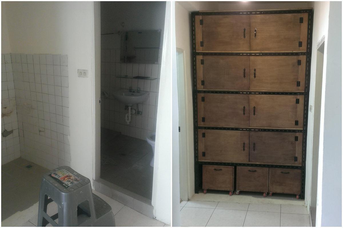 廁所施工前(左),廁所拆除後(右)。