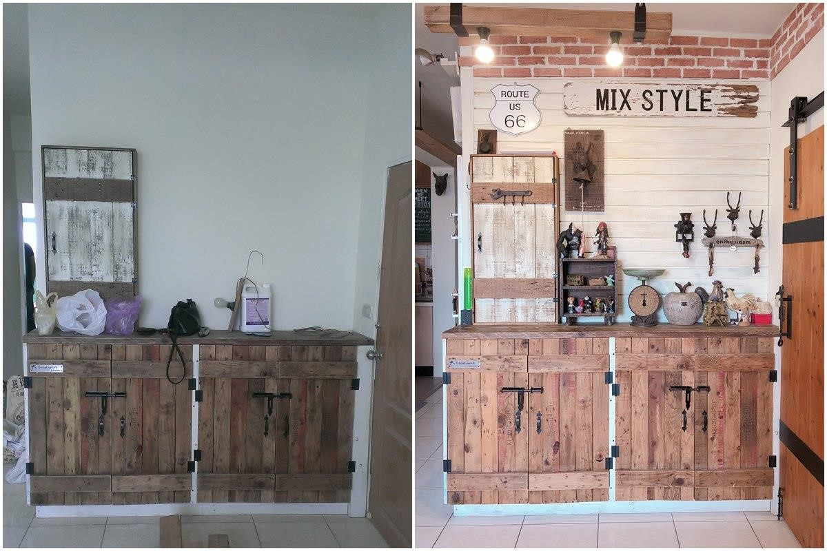 鞋櫃區施工中(左),鞋櫃區完工後(右)。