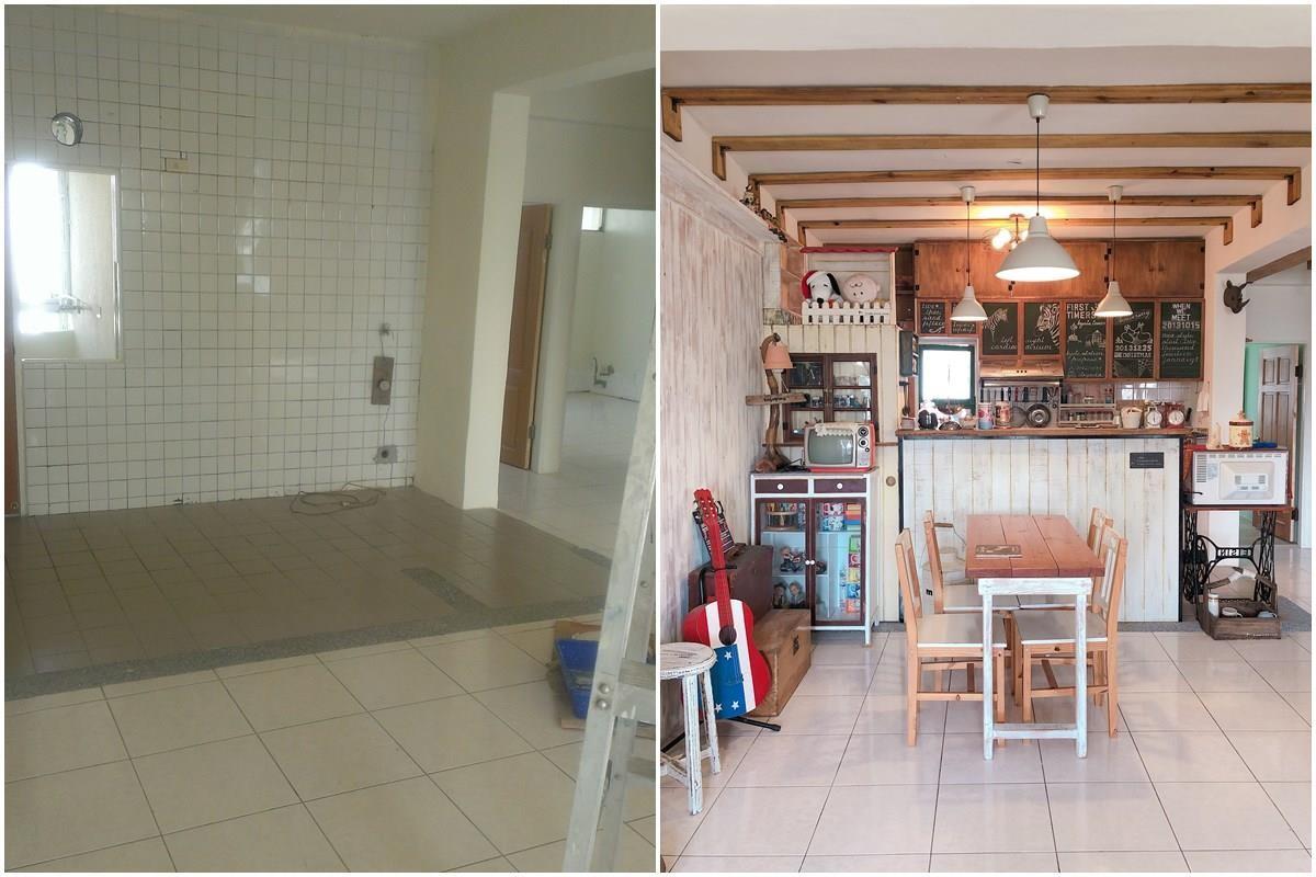 廚房施工前(左),廚房完工後(右)。