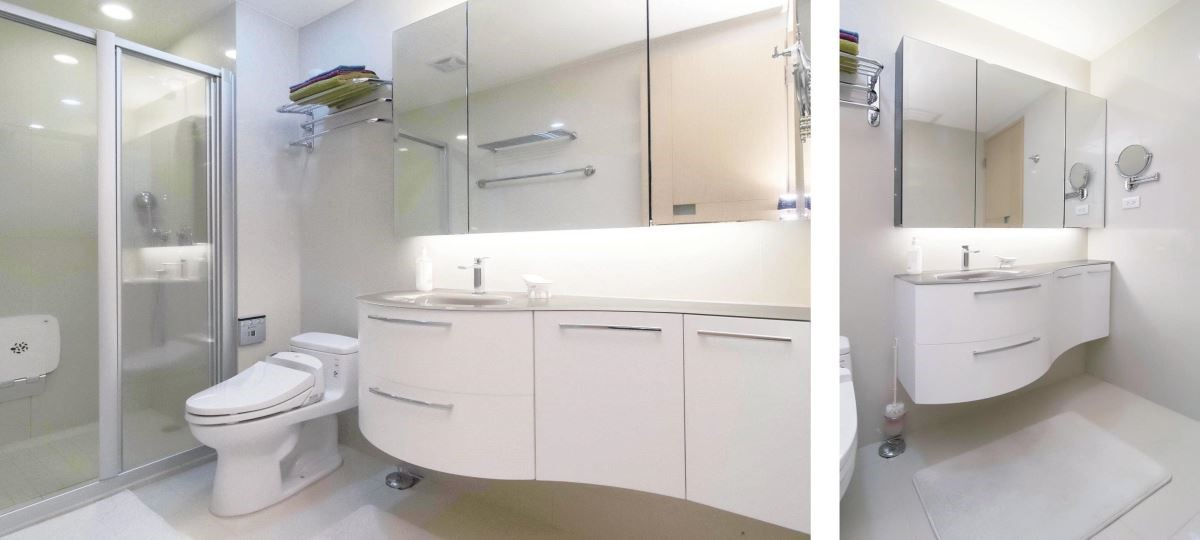 (After)換上AZZURRA LimeØ系列浴櫃後,營造出極簡氣息的浴室風格。