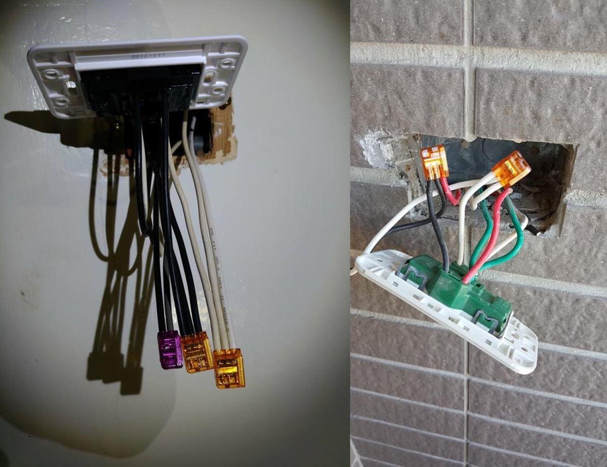 藏身於壁面接線盒內的插式連接器。