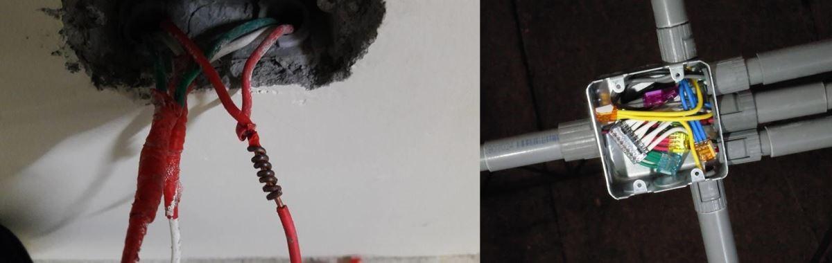 傳統的電工膠布纏接(左),使用插式連接器(右)。