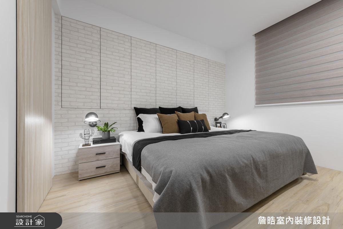主臥室以木材質的鋪敘,營造質樸溫潤的舒適氛圍。