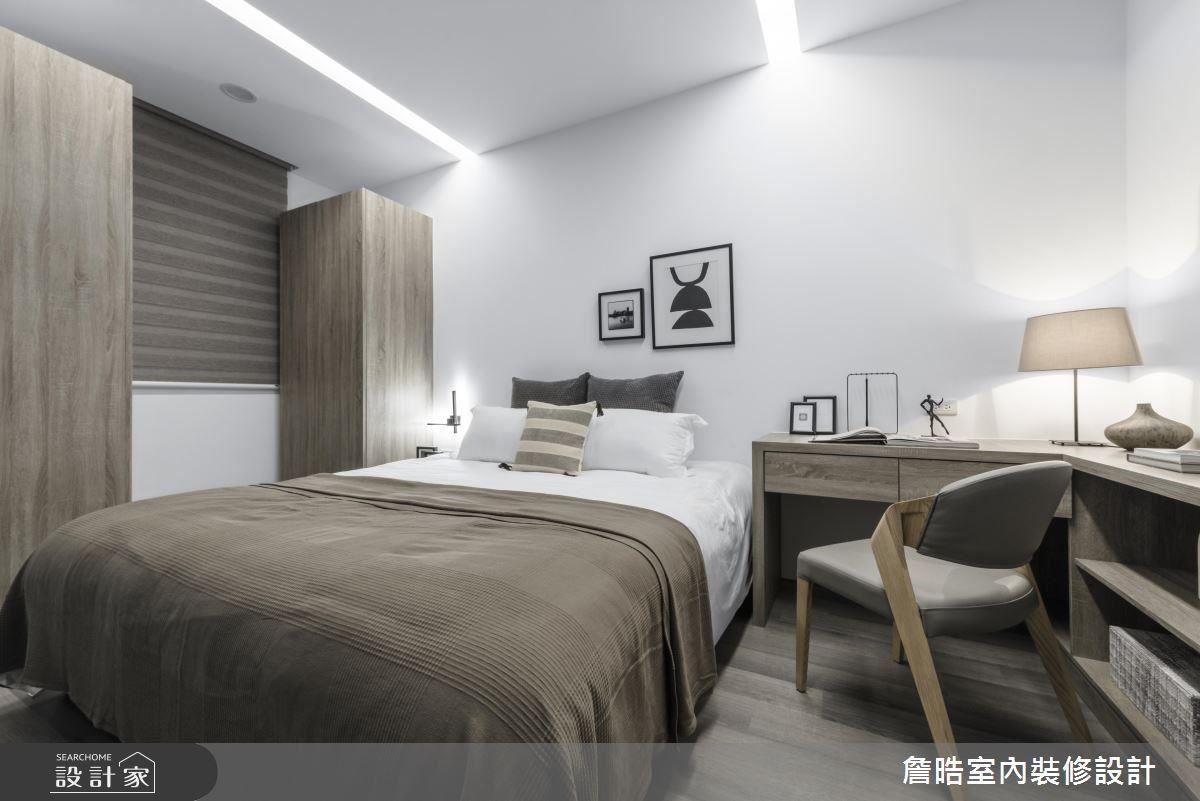 男孩房選用灰白色調,表現現代風空間的沉穩與寧靜。