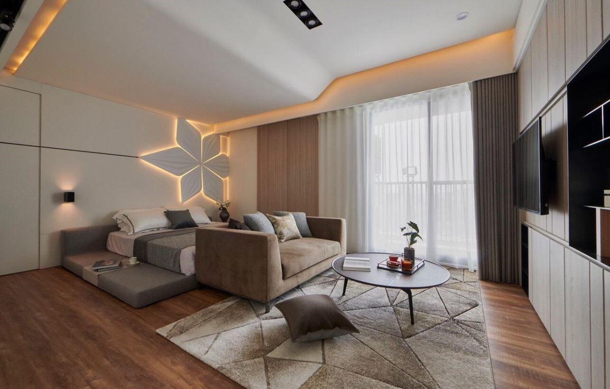 透過沙發軟件的色彩搭配,為臥房注入獨特的現代都會底蘊。