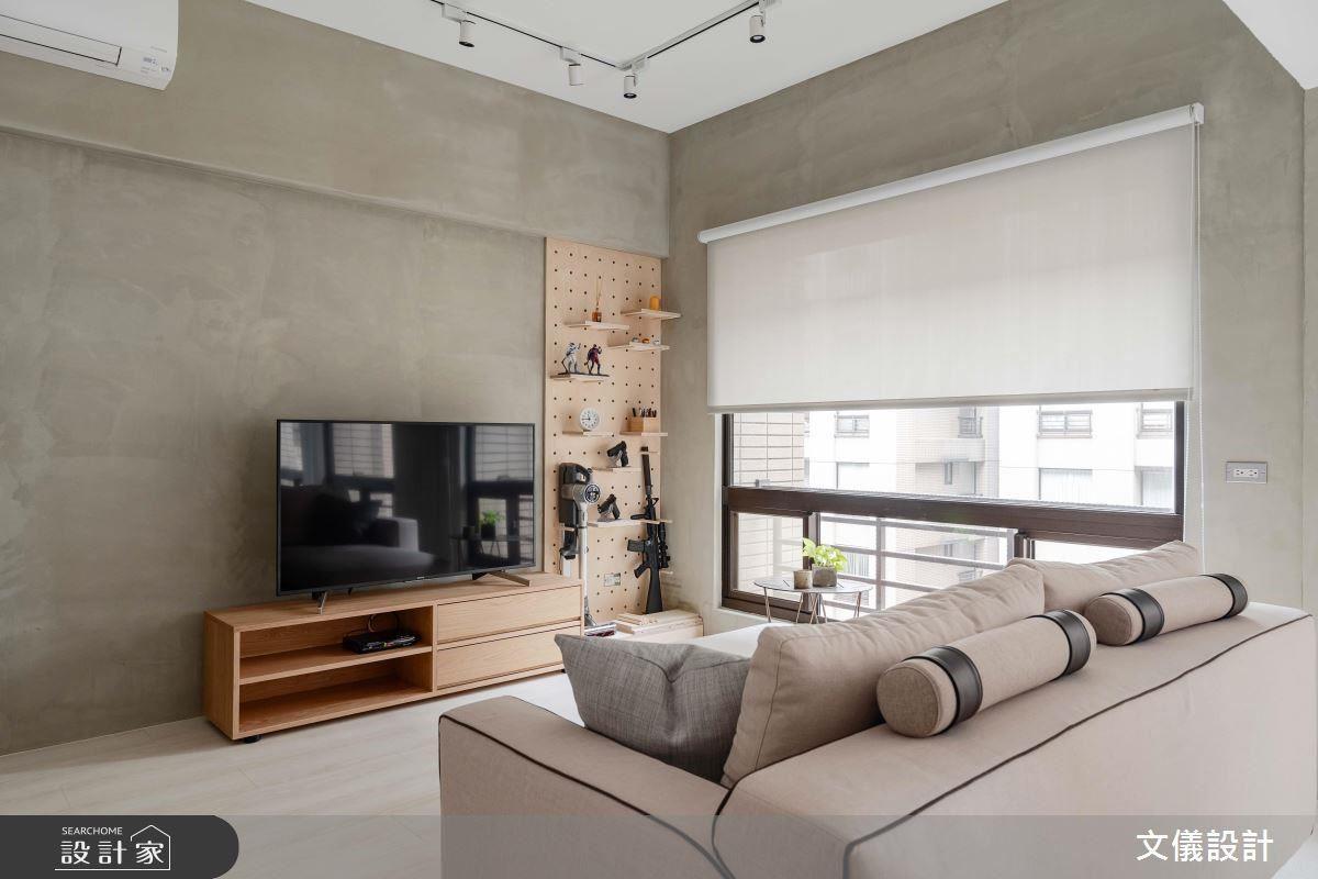 客廳以樂土自然色澤鋪陳,搭配單一木作質感構成舒適日式極簡風味。