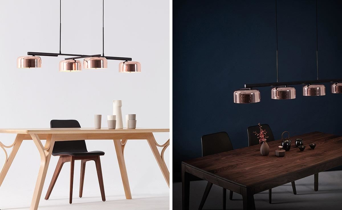 「LALU + 拉魯」吊燈,呼應現代風室內設計主軸強調簡約、內斂與大器品味,燈具替空間妝點出都會時尚的金屬質感。