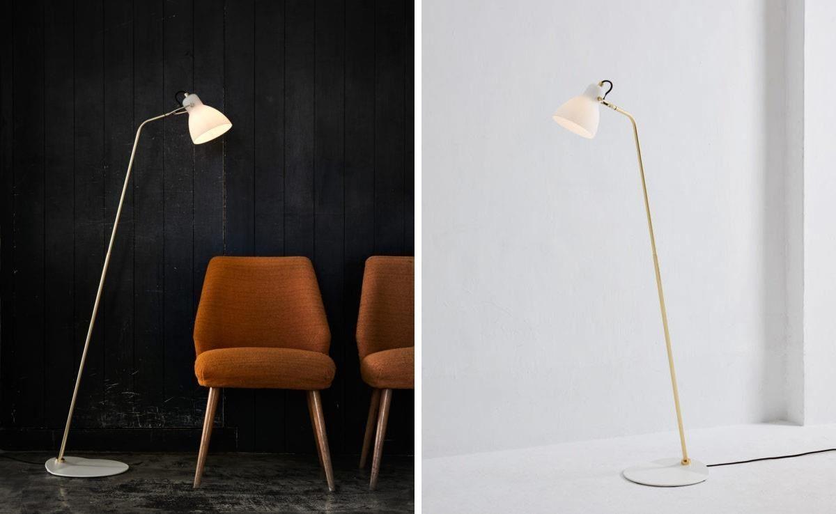 「LAITO OPAL 玻光 F」立燈,霧白玻璃輕透黃銅,呈現輕盈典雅的立燈姿態。