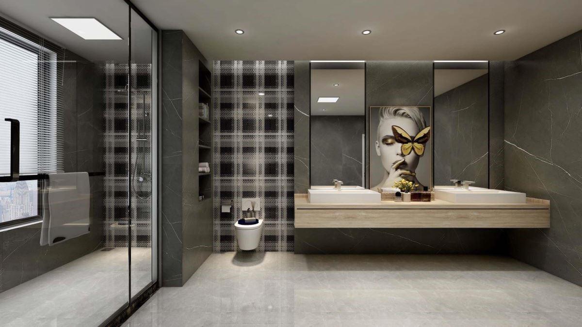 牆面藉由格紋造型以及人物臉上停留一隻蝴蝶的超現實意境,替私密的衛浴空間營造出充滿想像以及摩登時尚感。