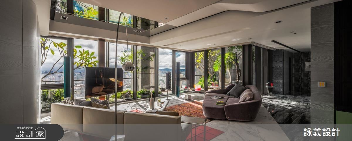 客廳運用各式流線線條,框塑出 lifestyle 的空間表情。