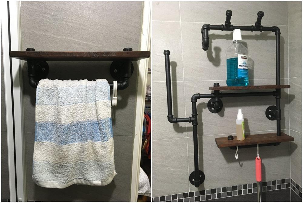 毛巾架與浴室置物架。