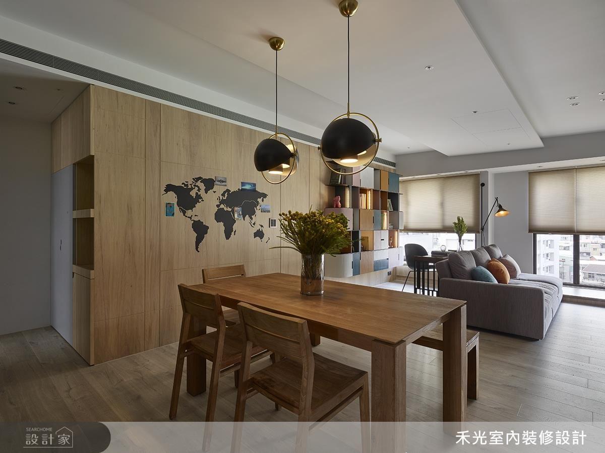 餐廳選搭特殊造型吊燈,藉由圓弧造型點綴現代簡約風格。