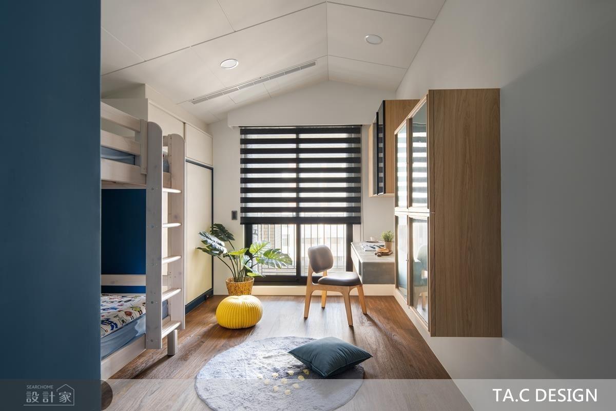 小孩房藉藍、白色彩堆疊,挹注活潑清爽張力。