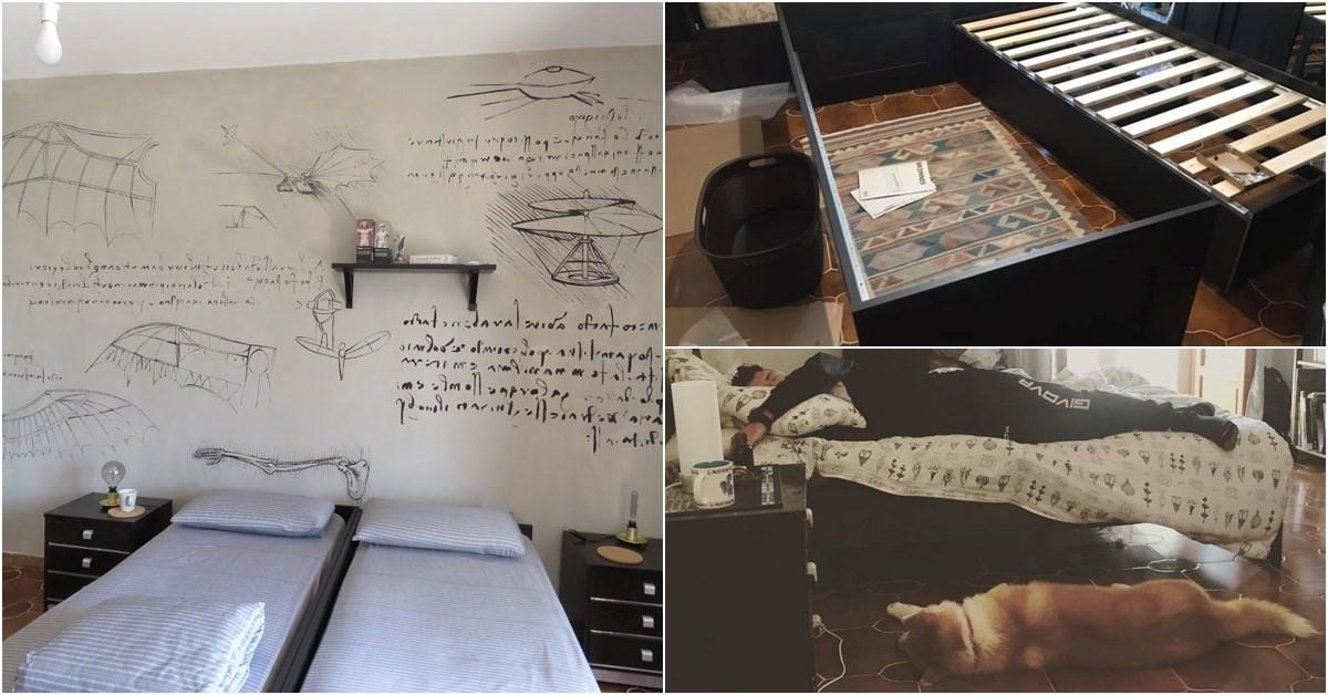 【關你壁事IV】達文西手稿超逼真再現!DIY 房間改造老公閃邊,插畫家人妻一手包辦