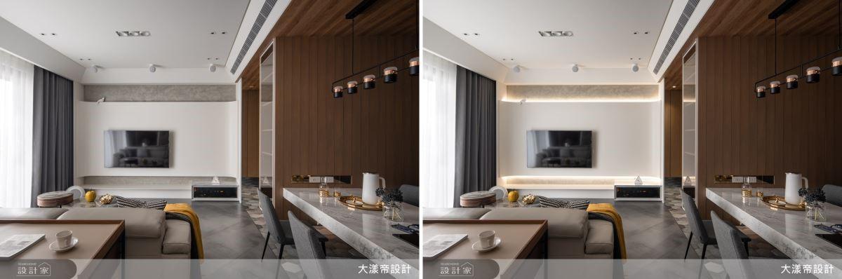 電視牆以圓弧工藝成就柔和視覺效果,更搭配上、下照明,烘托空間層次感。