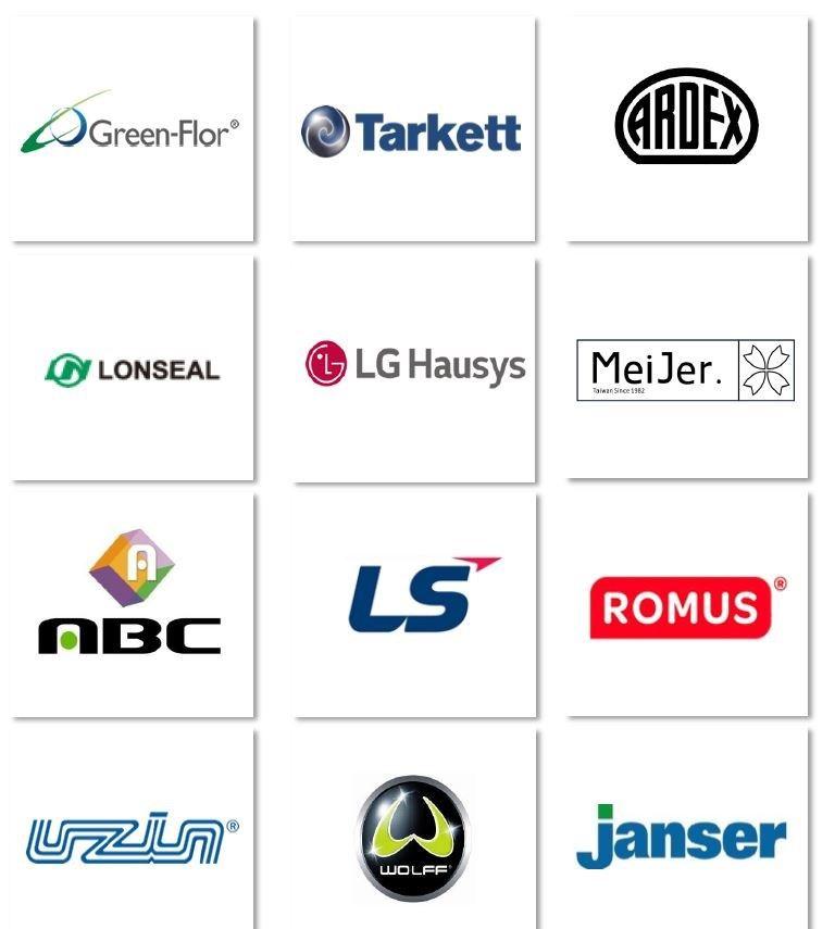 富銘地板除了自家台灣工生產之外,也代理多個歐、美、日、韓的地材品牌,包含機具也採用國外專業地材鋪設品牌。
