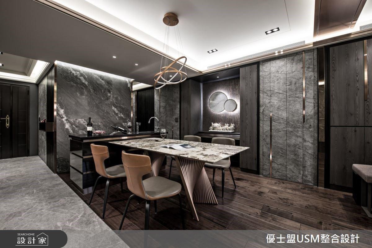 50 坪飯店風居家,設計師透過石材、金屬與木紋的結合