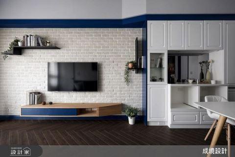 藍與白的交織 繽紛混搭16坪美式居家 成境設計 李順程