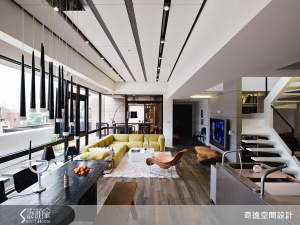 75坪新成屋(5年以下)_現代風客廳樓梯案例圖片_奇逸空間設計_奇逸_05之1