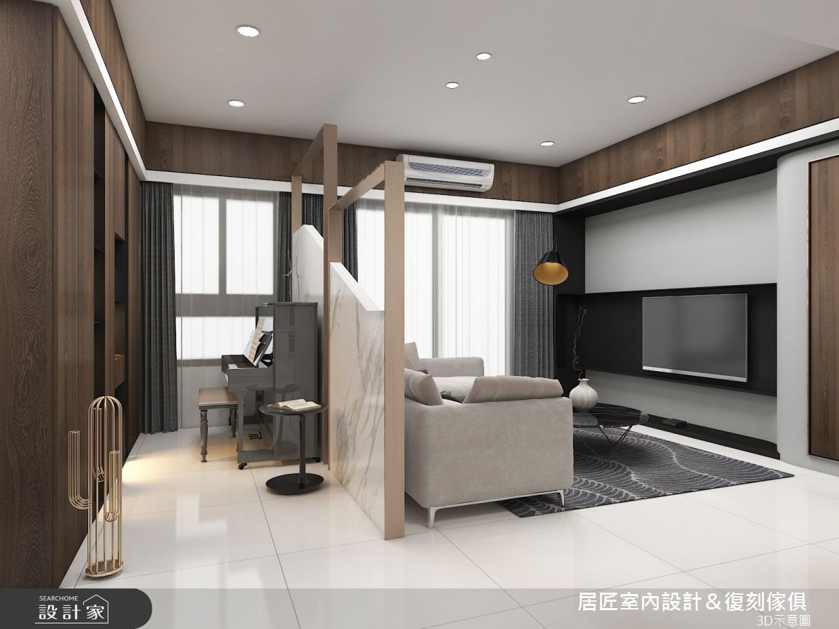 30坪新成屋(5年以下)_現代風客廳案例圖片_居匠室內設計&復刻傢俱_居匠_03之3