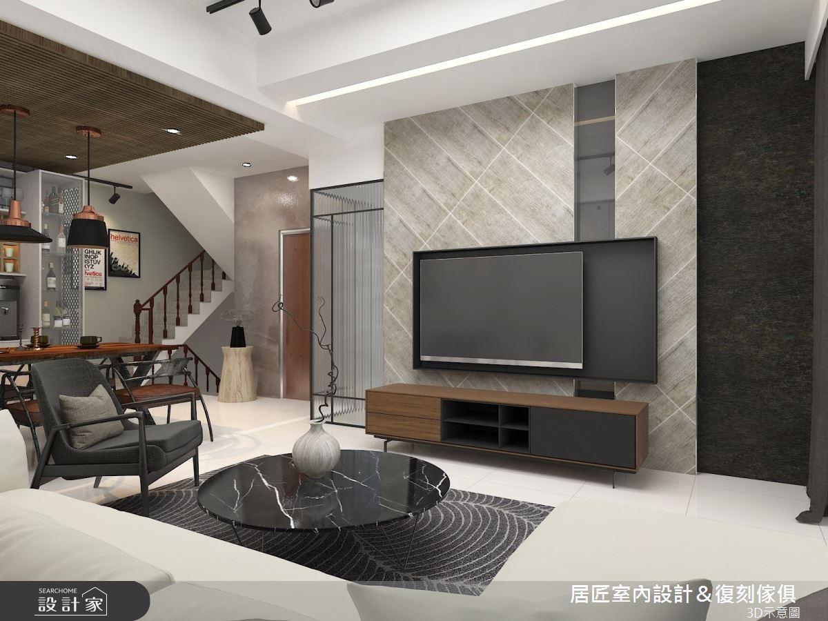 30坪新成屋(5年以下)_工業風客廳樓梯案例圖片_居匠室內設計&復刻傢俱_居匠_04之1