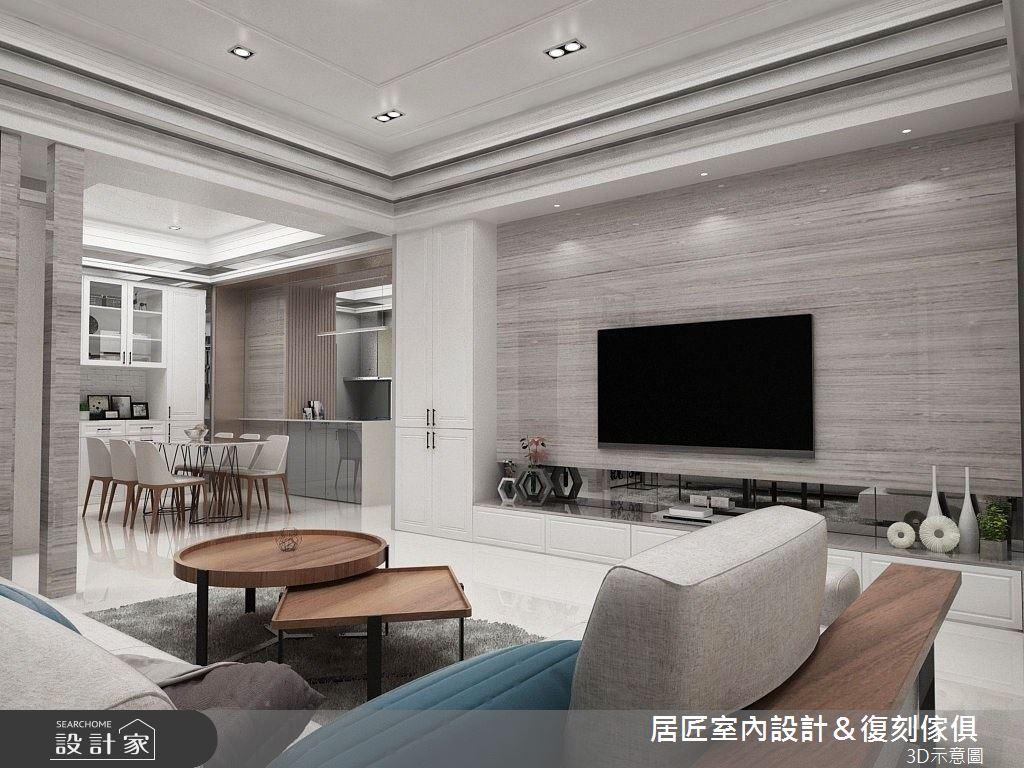 40坪新成屋(5年以下)_新古典客廳案例圖片_居匠室內設計&復刻傢俱_居匠_06之3