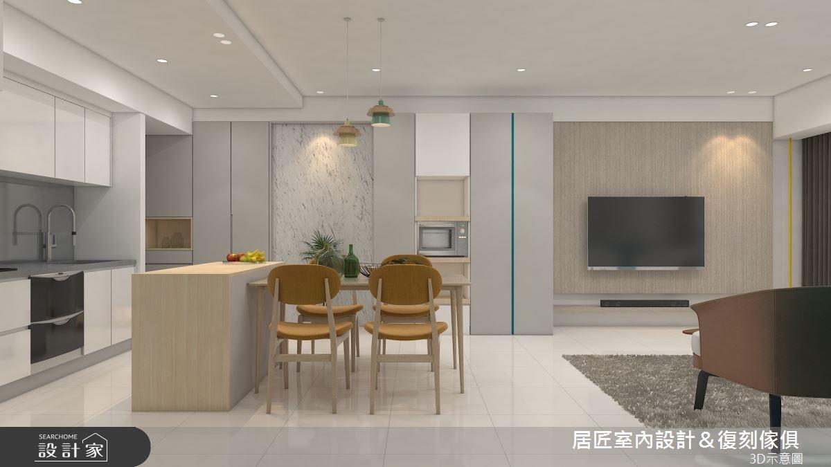 30坪新成屋(5年以下)_簡約風餐廳中島案例圖片_居匠室內設計&復刻傢俱_居匠_25之3