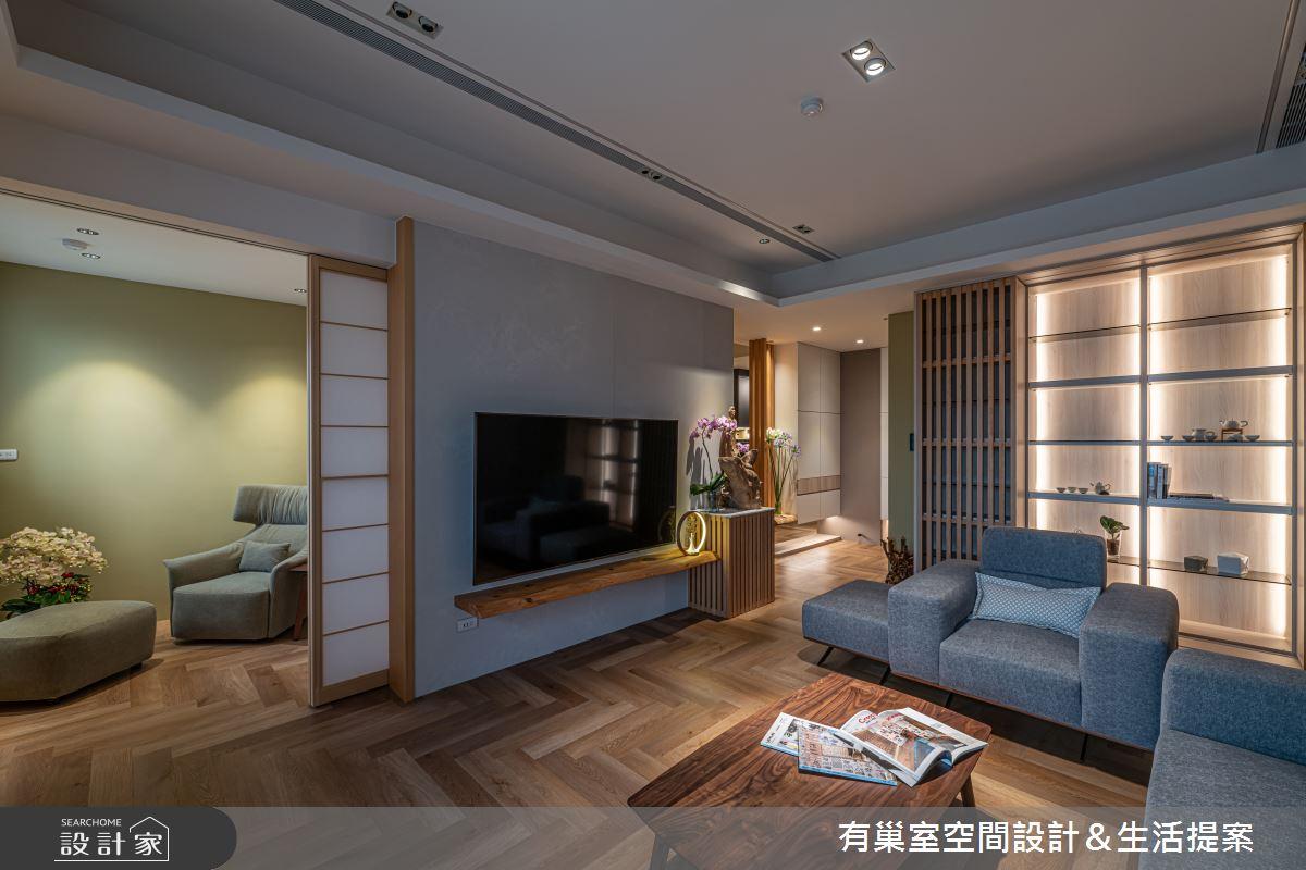 40坪新成屋(5年以下)_日式和風客廳案例圖片_有巢室空間設計_有巢室_01之5