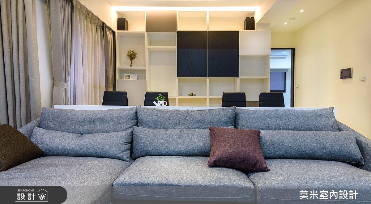 32坪新成屋(5年以下)_混搭風客廳案例圖片_莫米室內設計_莫米_黑白H會館之4
