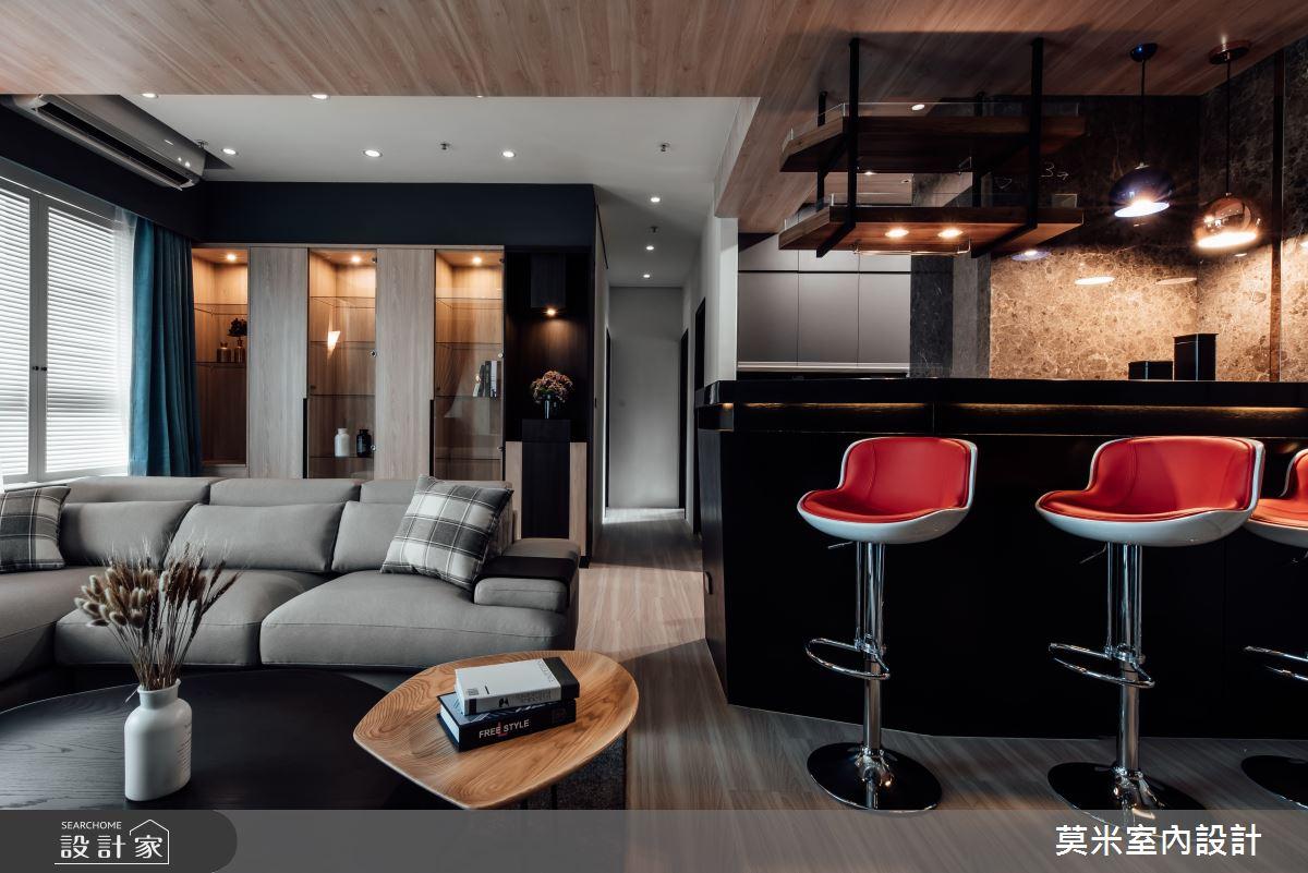 35坪新成屋(5年以下)_混搭風客廳吧檯案例圖片_莫米室內設計_莫米_休閒爵士.明亮藍調之2