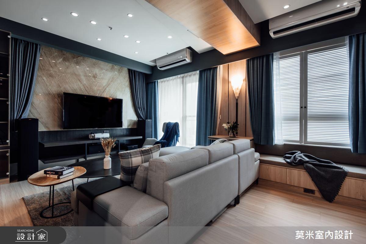 35坪新成屋(5年以下)_混搭風客廳案例圖片_莫米室內設計_莫米_休閒爵士.明亮藍調之4