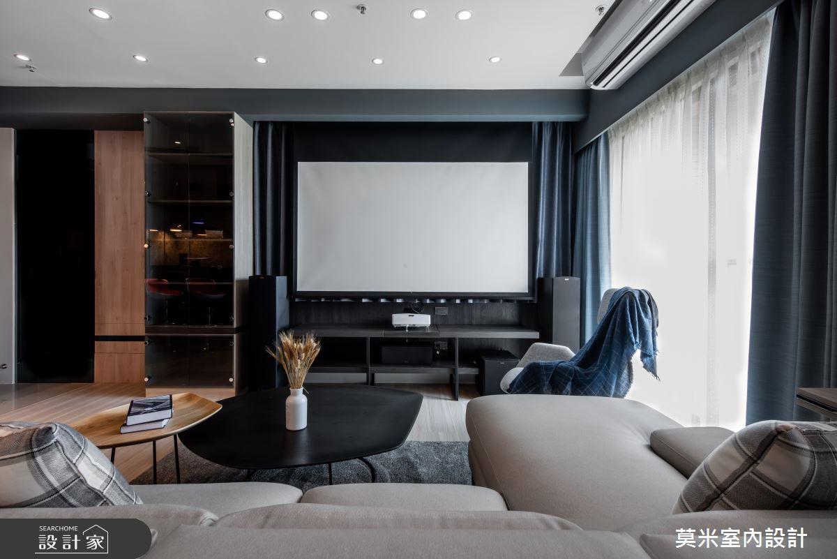 35坪新成屋(5年以下)_混搭風客廳案例圖片_莫米室內設計_莫米_休閒爵士.明亮藍調之5