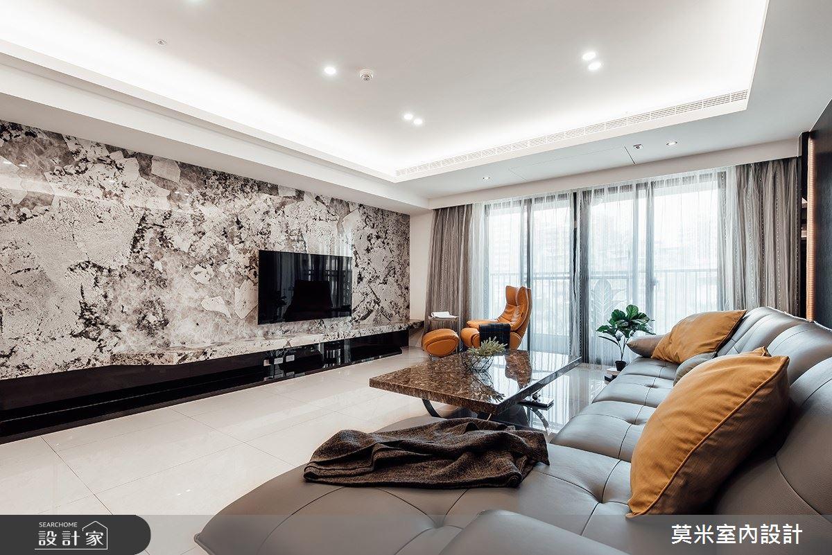 60坪新成屋(5年以下)_混搭風客廳案例圖片_莫米室內設計_莫米_空間的律動之2