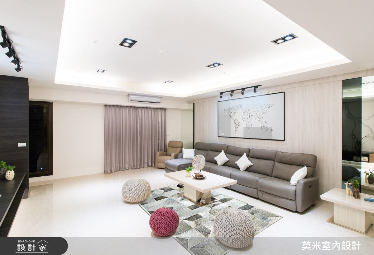 120坪新成屋(5年以下)_混搭風客廳案例圖片_莫米室內設計_莫米_溫潤線條之2