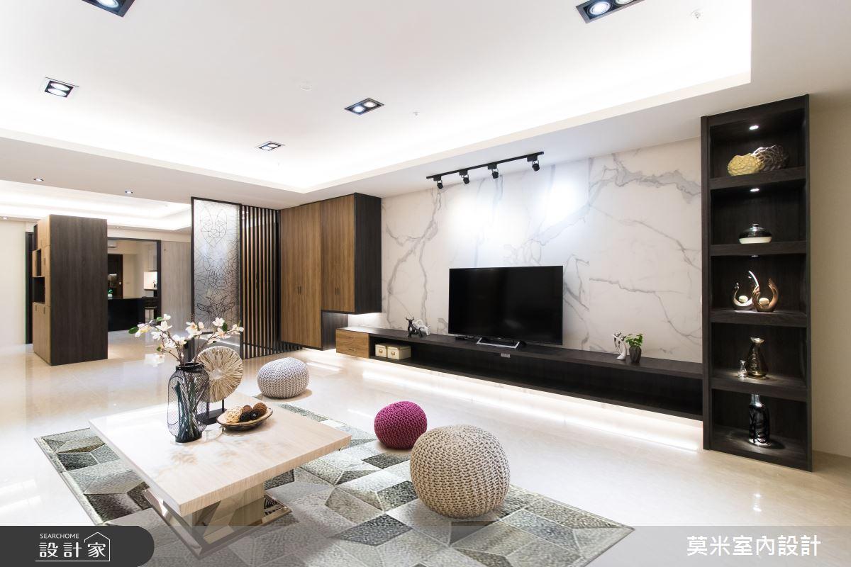 120坪新成屋(5年以下)_混搭風客廳案例圖片_莫米室內設計_莫米_溫潤線條之4