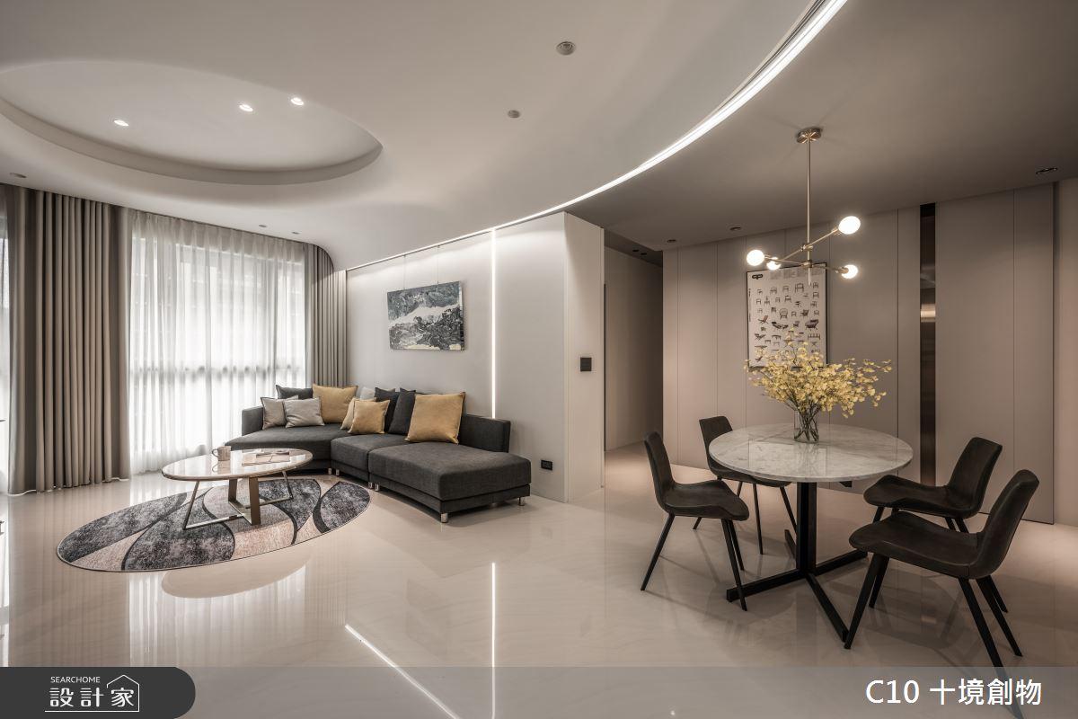 35坪新成屋(5年以下)_現代風客廳餐廳案例圖片_十境創物空間設計有限公司_十境_白皪之1