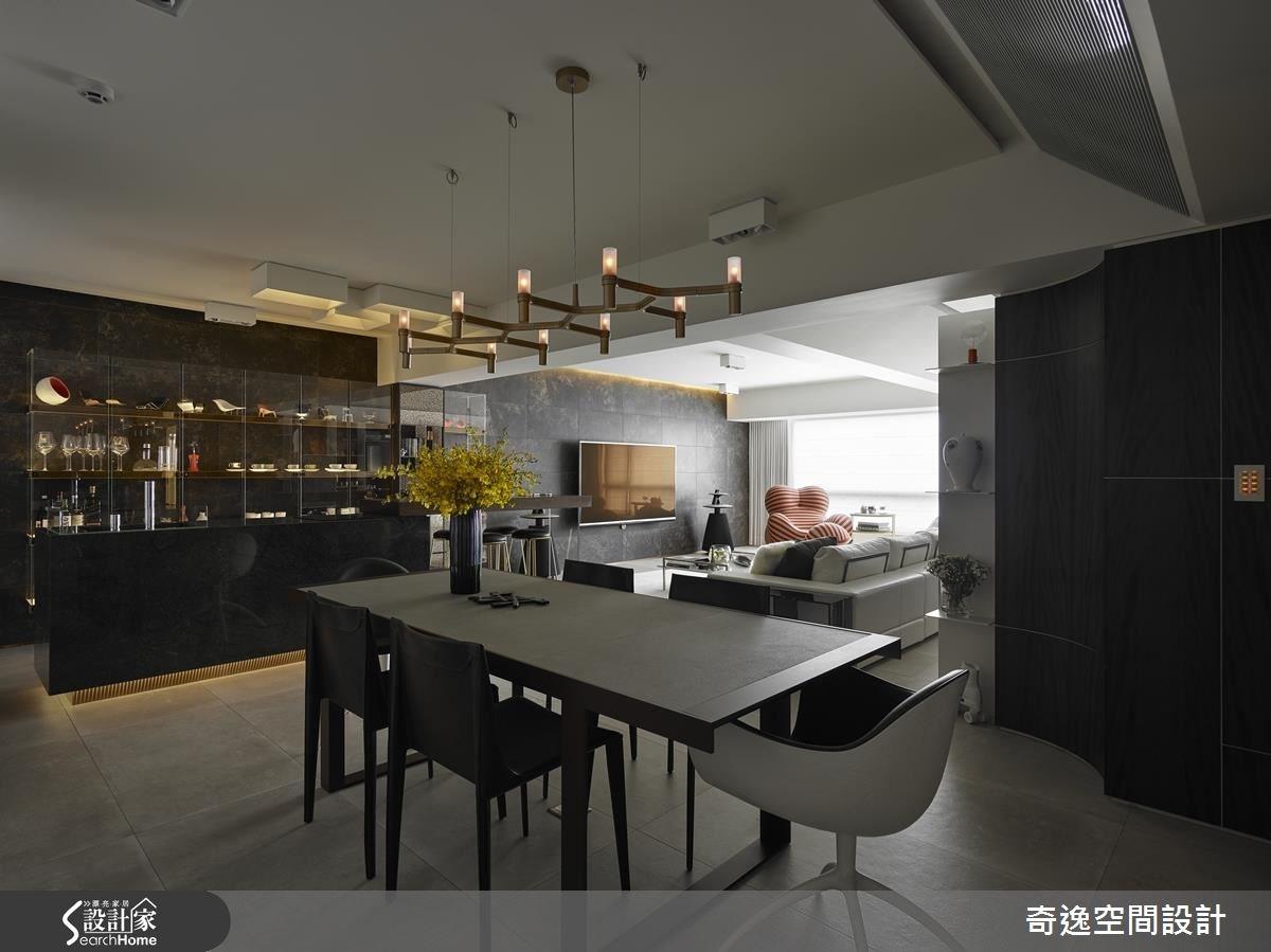 44坪老屋(16~30年)_現代風客廳餐廳吧檯案例圖片_奇逸空間設計_奇逸_22之2