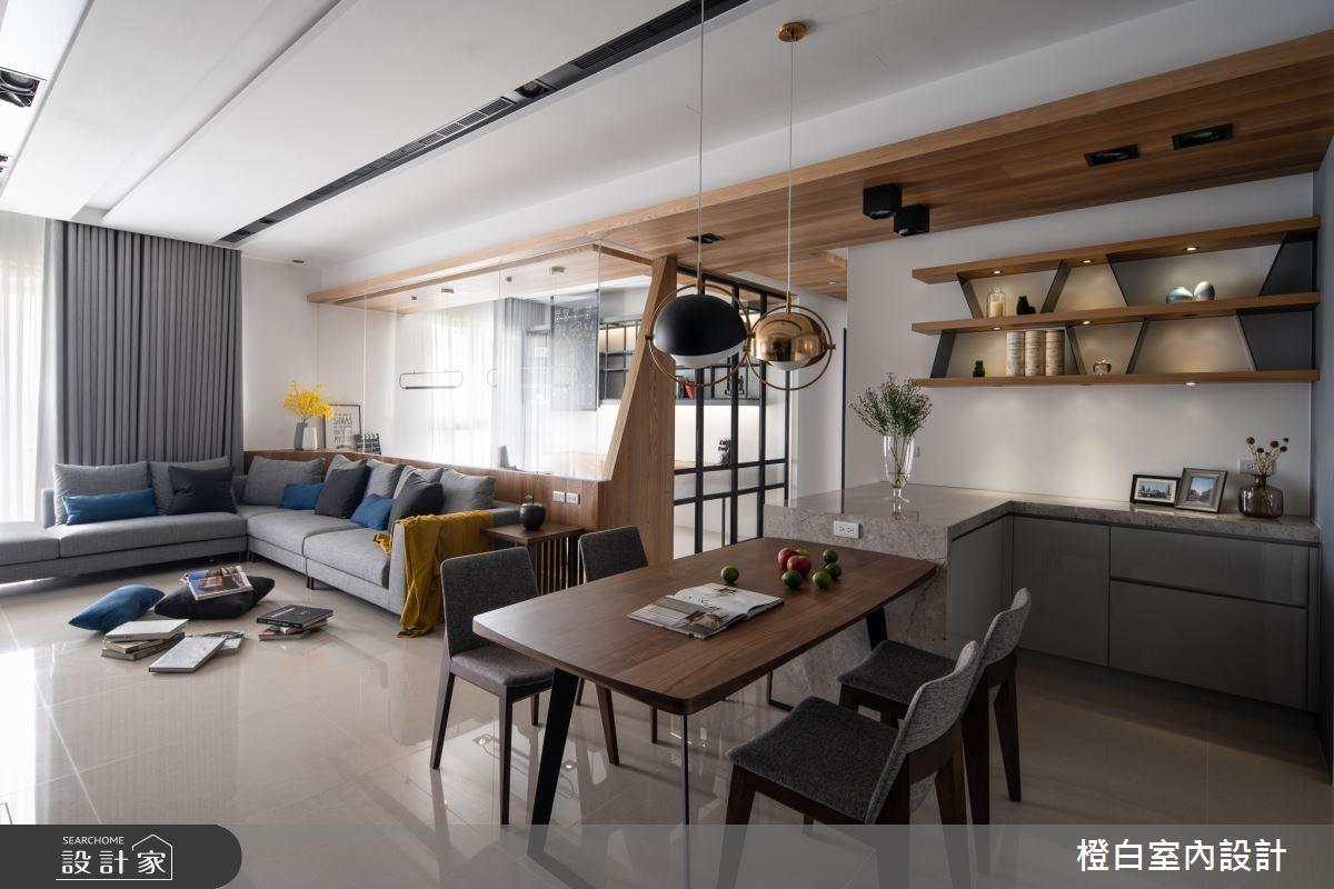 45坪新成屋(5年以下)_混搭風客廳餐廳案例圖片_橙白室內裝修設計工程有限公司_橙白_70之5