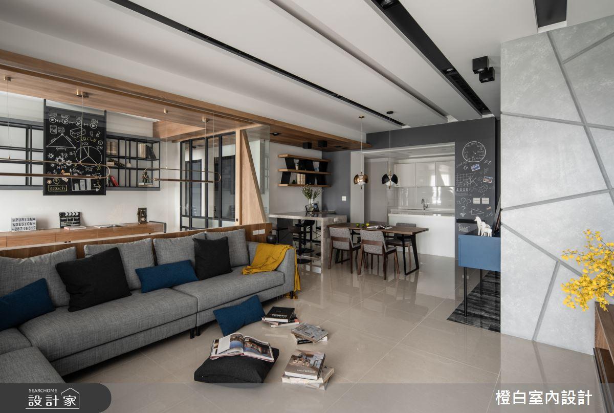 45坪新成屋(5年以下)_混搭風客廳案例圖片_橙白室內裝修設計工程有限公司_橙白_70之14