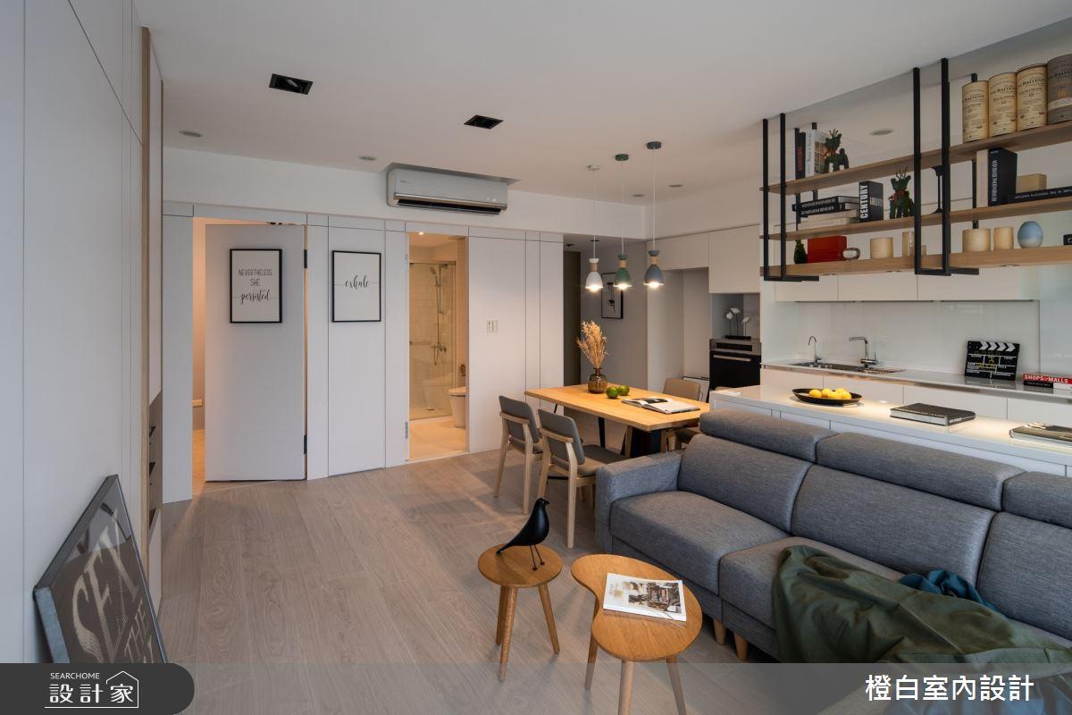 20坪新成屋(5年以下)_混搭風客廳廚房吧檯案例圖片_橙白室內裝修設計工程有限公司_橙白_73之4