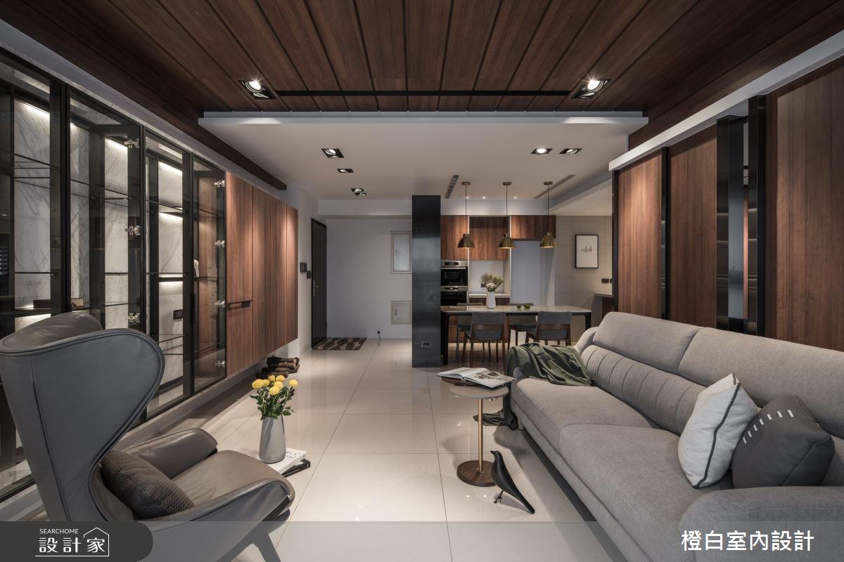 40坪新成屋(5年以下)_混搭風客廳案例圖片_橙白室內裝修設計工程有限公司_橙白_77之4