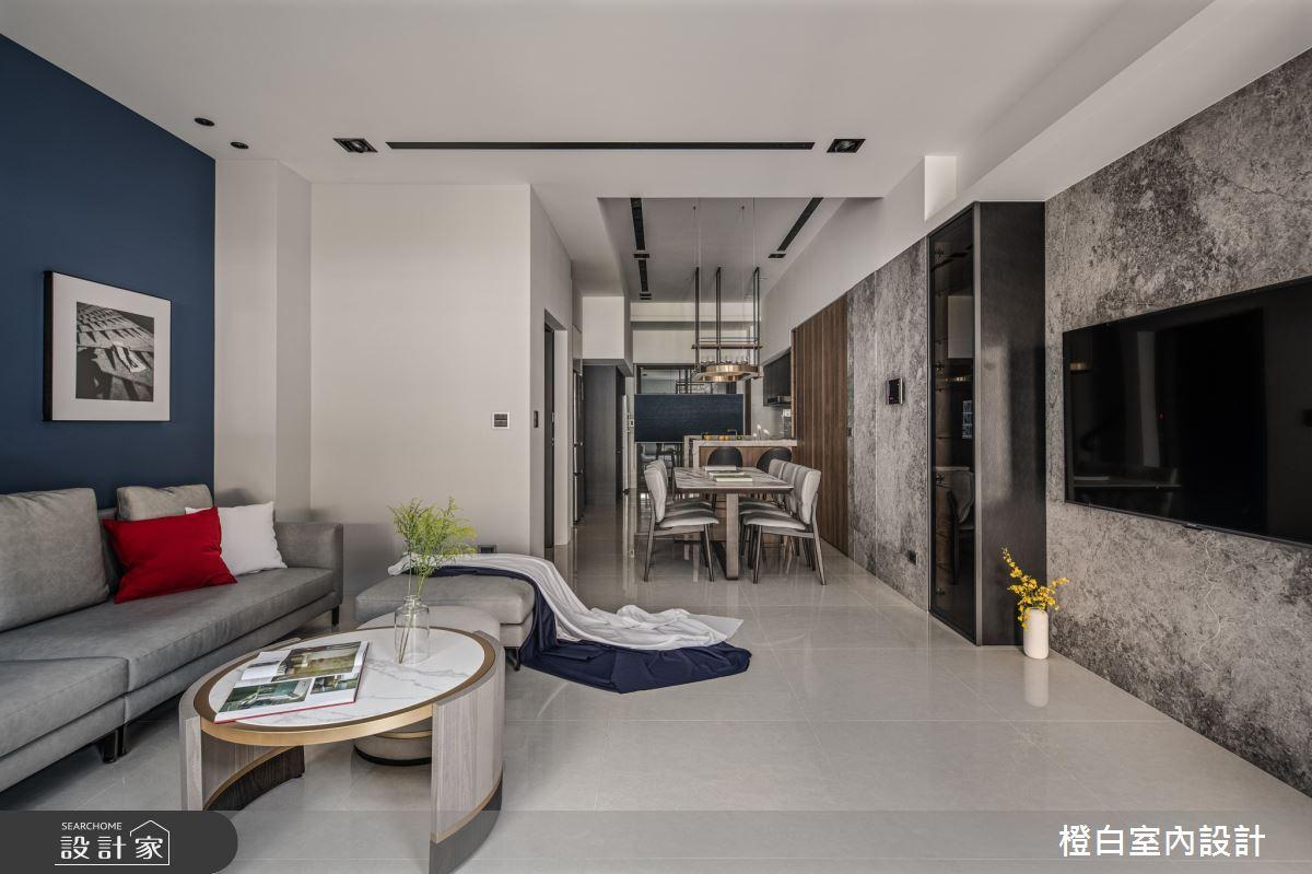 95坪預售屋_混搭風客廳餐廳吧檯案例圖片_橙白室內裝修設計工程有限公司_橙白_85之1