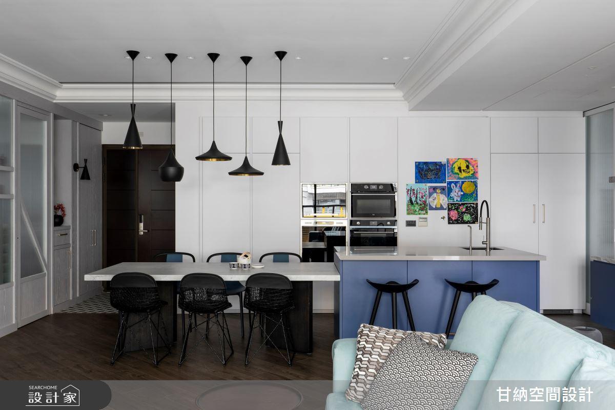 38坪新成屋(5年以下)_混搭風餐廳中島案例圖片_甘納空間設計_甘納_46之6