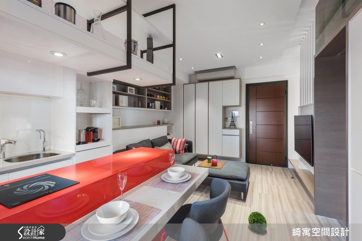 12坪新成屋(5年以下)_現代風玄關客廳餐廳吧檯案例圖片_綺寓空間設計_綺寓_20之3