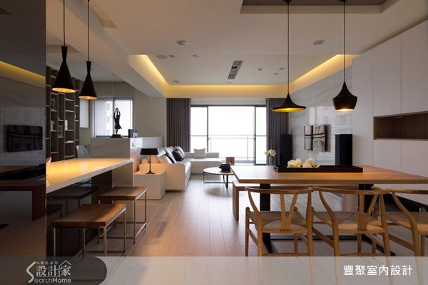 40坪預售屋_現代風玄關客廳餐廳案例圖片_豐聚室內設計_豐聚_07之1