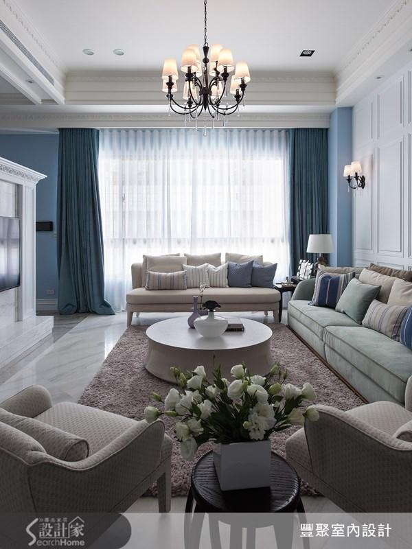 90坪新成屋(5年以下)_新古典客廳案例圖片_豐聚室內設計_豐聚_15之5
