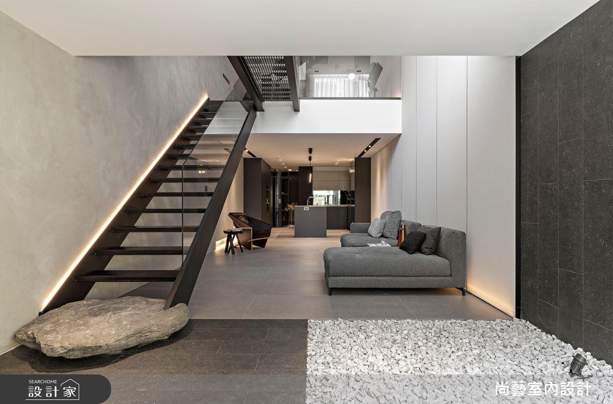 66坪老屋(16~30年)_現代風客廳樓梯案例圖片_尚藝室內設計_尚藝_55雨賦之2