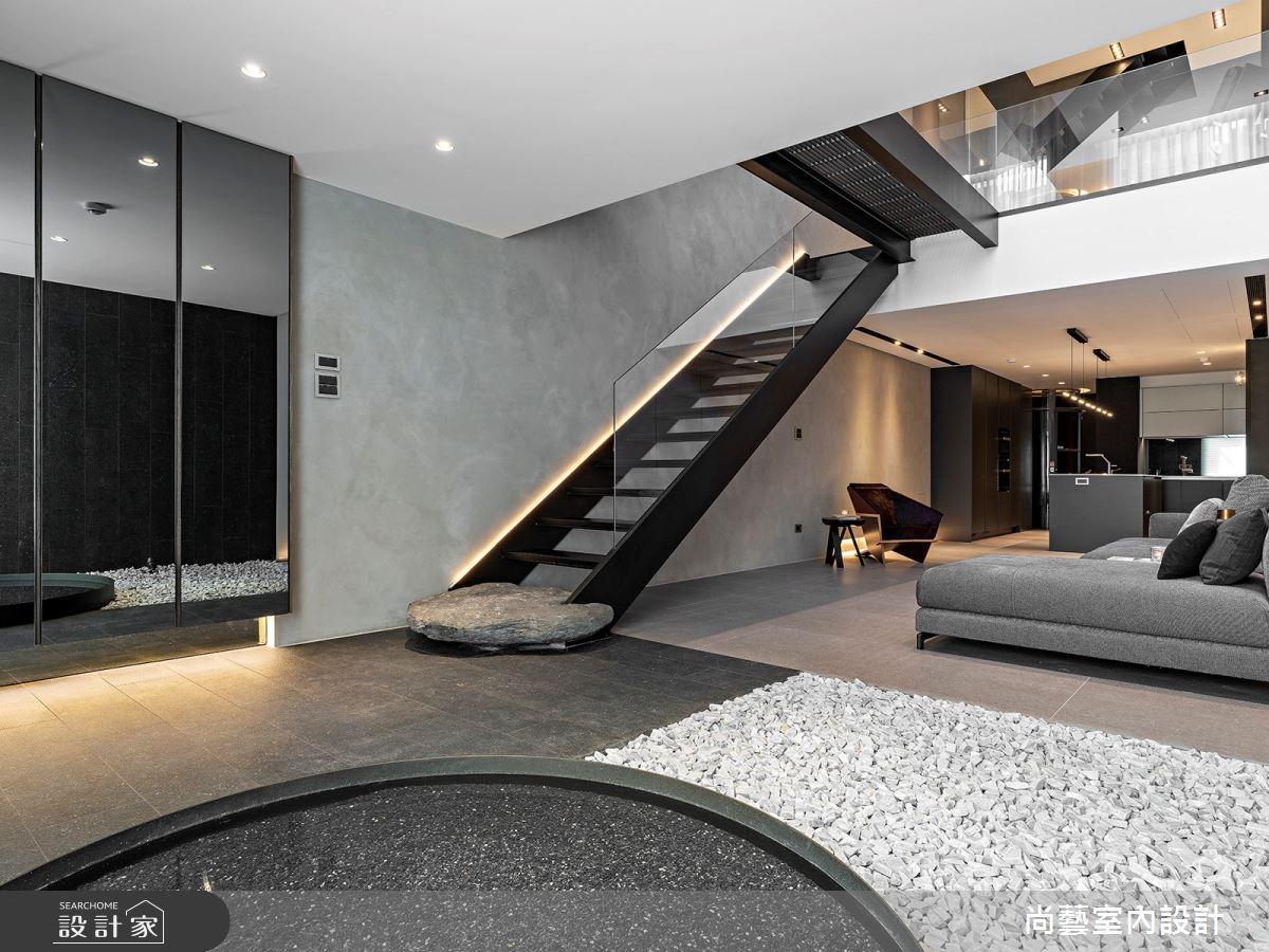 66坪老屋(16~30年)_現代風客廳樓梯案例圖片_尚藝室內設計_尚藝_55雨賦之3