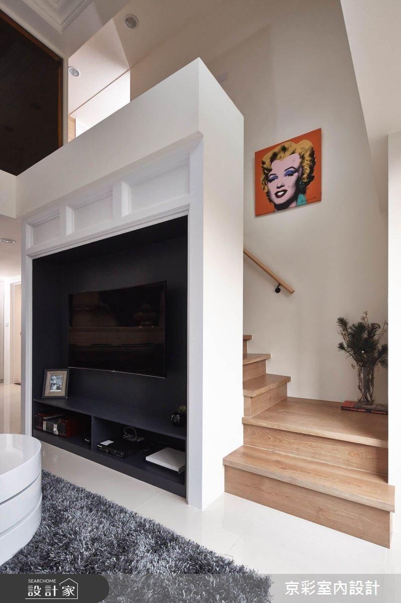 40坪老屋(16~30年)_新古典客廳樓梯案例圖片_京彩室內設計有限公司_京彩_03之5